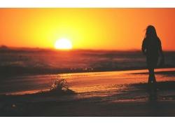 人,日落,妇女,轮廓,海滩,波浪,户外的女人,黄金时段30534