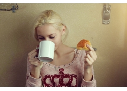 人,早上,金发,妇女,杯子48392
