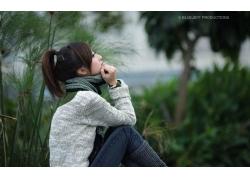 人,亚洲,马尾巴,毛线衣,户外的女人,妇女,模型,张凯杰35266