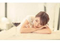 人,妇女,亚洲,喝杯酒,模型,红唇膏29482