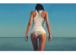 人,妇女,屁股,海,户外的女人,白色内裤,差距22588