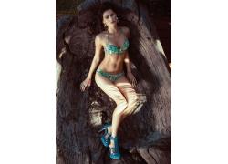 人,妇女,性质,黑发,卷发,比基尼泳装,模型,木,高跟鞋697