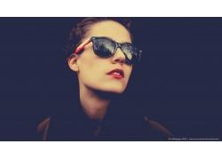 人,妇女,戴眼镜的妇女,红唇膏,面对,模型41219