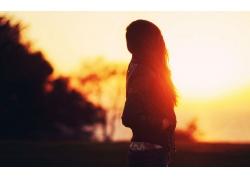 人,婦女,日落,黃金時段,輪廓,陽光,長發,戶外的女人,模糊,在戶外5