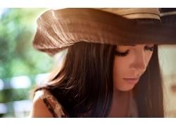 人,妇女,有趣的帽子,黑发,面对,帽子,长发,模型30527