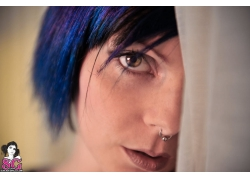 人,女孩,Riae,鼻环,蓝头发,妇女,模型19310