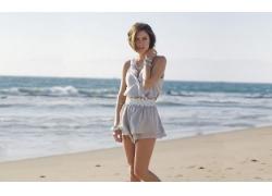 人,妇女,白色礼服,海滩,杰西卡斯特鲁普,模型,户外的女人,手镯,海