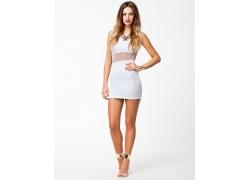 人,双手放在臀部,白色礼服,白色背景,金发,妇女,模型39562