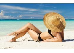 人,妇女,比基尼泳装,海滩,砂,帽子,沙覆盖,户外的女人39770
