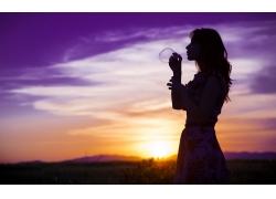 人,妇女,轮廓,泡泡,日落,花的,户外的女人,紫色63070