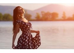 人,妇女,连衣裙,黑发,闭着眼睛,模型,长发30523