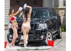 人,汽车,洗涤,汽车的妇女,肥皂,黑色汽车,车辆,妇女,湿,模型6661