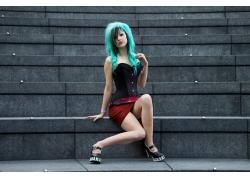 人,紧身胸衣,染过的头发,蓝色的头发,妇女,模型,坐在,腿,EMO51