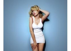 人,斯嘉丽约翰逊,大胸部,白色礼服,妇女,金发,演员,迷你裙,看着观