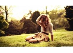 人,美女,性质,在头上的手,金发,户外的女人,模特55303