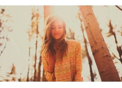 人,美女,戶外的女人,微笑,陽光30532