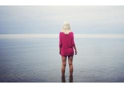 人,水,背部,白色的头发,户外的女人,腿,金发,美女64921