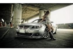 人,汽车的美女,停车场,汽车,皮靴,黑发39824