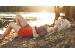 人,美女,模特,金发,户外的女人,戴眼镜的美女,水38414