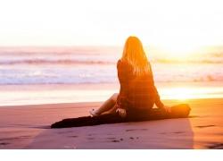 人,海,海灘,美女,日落,戶外的女人,陽光62616