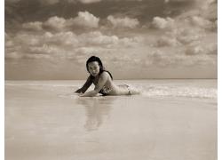 人,美女,海,海滩,单色,游泳衣,奥利维亚王尔德55060