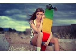人,美女,滑板,黑发,长板,户外的女人,黥,Teravena Sugimoto23373