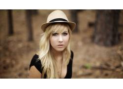 人,金发,帽子,面对,长发,户外的女人,在户外,肖像,美女,模特73026