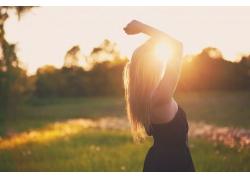 人,金發,戶外的女人,胳膊,陽光29641