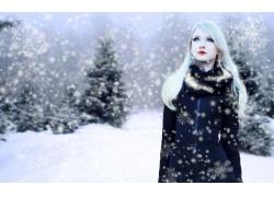 人,金发,户外的女人,长发,冬季,雪25804