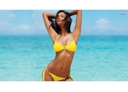 人,莱斯里贝罗,黄色,海滩,美女,模特,比基尼泳装,黑发,长发,闭着