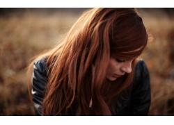 人,美女,红发,雀斑,模特,面对,长发,户外的女人,望着远处,景深,皮