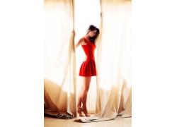 人,美女,红色礼服,模特,连衣裙54510