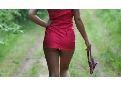 人,衩,连衣裙,屁股,美女,双手放在臀部,模特4491