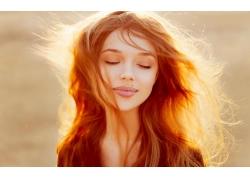 人,美女,面對,紅發,閉著眼睛,黑發,模特,戶外的女人,陽光33816