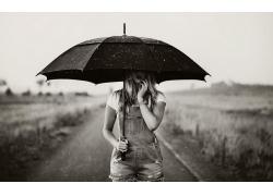 人,雨傘,單色,美女,雨,模特,戶外的女人30538