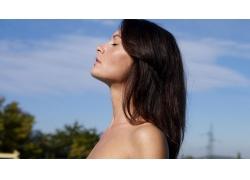 人,美女,黑发,模特,户外的女人,面对,长发,轮廓,闭着眼睛38521