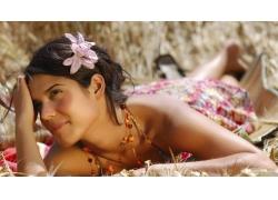 人,美女,微笑,花卉,戶外的女人,項鏈28484