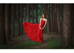 人,树木,美女,红色礼服,户外的女人40091
