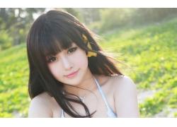 人,亚洲,美女,面对,黑发,户外的女人,在户外,项链,羞人72368