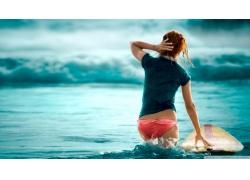 人,冲浪板,冲浪者,冲浪,在头上的手,海,美女,屁股,户外的女人,在