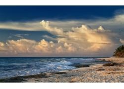 景观,海滩,天空,云,波浪,海,晚间252362