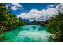 景观,海,采取,棕榈树,波拉波拉岛,热带,岛,山,海滩,云,法属波利尼