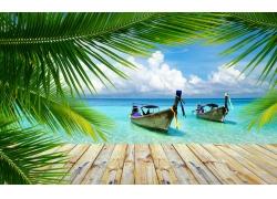 景观,海滩,热带,棕榈树,走道,船,泰国,海,夏季,云220483