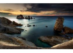 景观,日落,海,滨,岩,云,蓝色,天空,水,西班牙247359