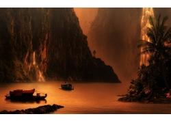 景观,山,瀑布,日落,湖,棕榈树,悬崖,鸟类,薄雾,船215863
