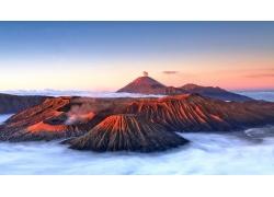 景觀,山,火山,云,薄霧,彈坑,布羅莫火山,印度尼西亞,陽光320283