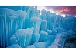景觀,冬季,雪,冰,冰山,冰柱,藍色,云,日落,霜245879