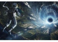 動漫,空間,宇航員,隧道,太空藝術,NASA,數字藝術,蟲洞,人造重力,
