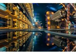 城市的,摩天大樓,建造,建筑,海,燈火,迪拜,景觀,藍色,碼頭,街,鳥