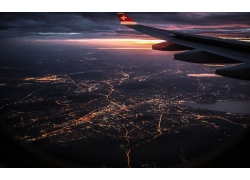 景觀,飛機,窗口,市容,云,鳥瞰圖,日落,燈火,天空,飛行276336